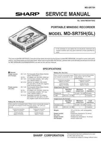 SHARP MD-SR75 Service Data by download #133873