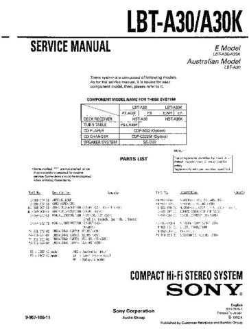 SONY LBT-A30 Service Manual by download #167014