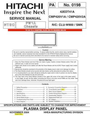 HITACHI 42EDT41A USA Service Manual by download #163349