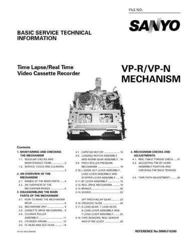 Sanyo Service Manual For MECHANISM VP- N Manual by download #175957