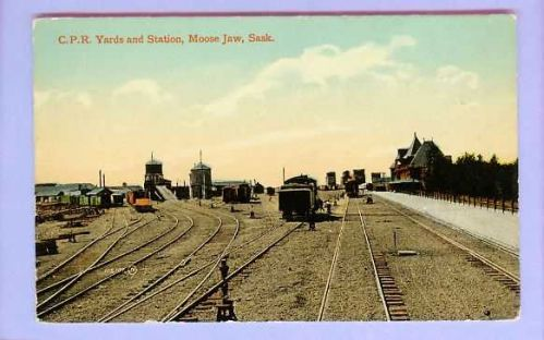 CAN Moose Jaw Sask CPR Yards & Station View Down Tracks Various Types Of T~126