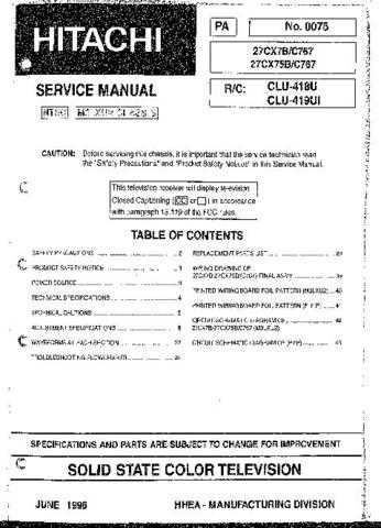 HITACHI 27CX75B USA Service Manual by download #163227