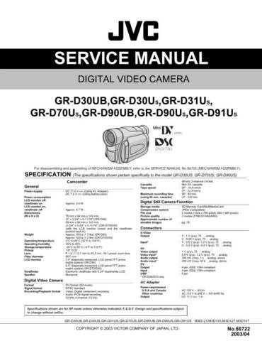 JVC GR-D30-70-90 Service Schematics by download #155593