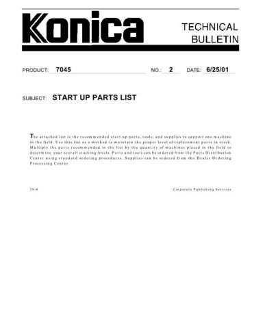 Konica 02 START UP PARTS LIST Service Schematics by download #135821