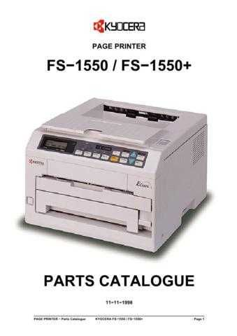 KYOCERA FS-1550 PARTS MANUAL by download #148423