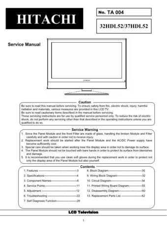 HITACHI 37HDL52 USA Service Manual by download #163345