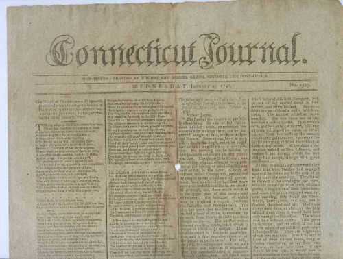 CT New Haven Newspaper Title: Connecticut Journal Date: Jan-4-1797~15