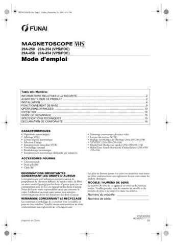 Funai 29A-250-254-450-454 HG347ED(FR) Manual by download #161051