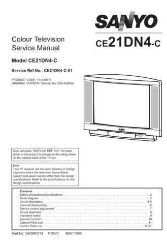 SANYO CE21EN6F-C EB6 SCHEMA Service Data by download #133461