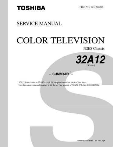 TOSHIBA 32A12 SUMMARY ON by download #129217