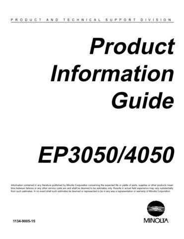 Minolta PRODUCT INFO Service Schematics by download #137580