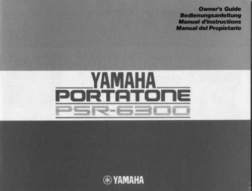 Yamaha PSR6300E1 Operating Guide by download Mauritron #204167