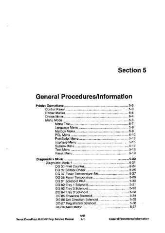 Xerox 4517 SECTION5 Service Manual by download #139413