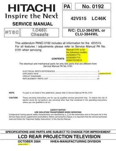 HITACHI 42V515 USA Service Manual by download #163377