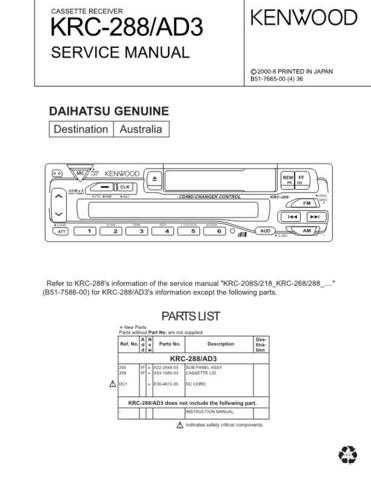 KENWOOD KRC-268A Technical Info by download #151935