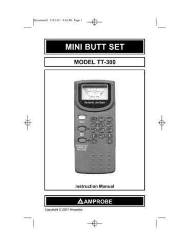 Amprobe TT300 Operating Guide User Instructions by download Mauritron #194650