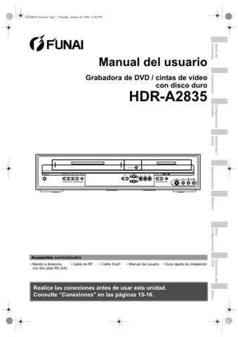 Funai HDR-A2835 E434BED ES 0126 BYR1 Operating Guide by download #162604