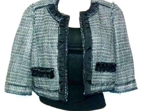 NICE NWOT Apostrophe Career Black Tweed Crop Jacket Blazer Silk Ruffle Size 6P