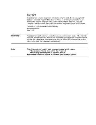 Hewlett Packard F100 20Serv 20 20Volume 201 Service Manual by download #155244