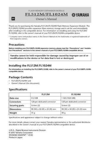 Yamaha FL512M_EN_OM_A0 Operating Guide by download Mauritron #203707