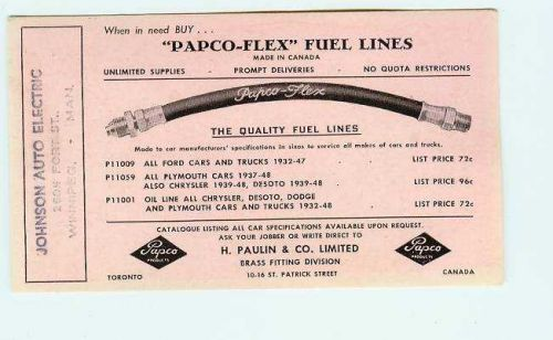CAN Winnipeg Ink Blotter Advertising Johnson Auto Electric, 260 1/2 Fort S~26