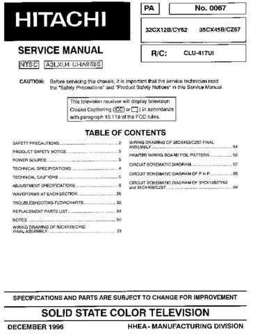 HITACHI 32CX45B USA Service Manual by download #163267