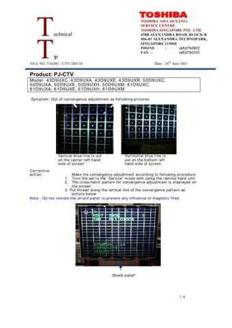 TOSHIBA TAOSC-CTV-200138 SERVICE BULLETIN by download #132191