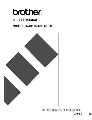 BROTHER LX 200, 900, 910D SERVICE MANUAL Service Manual by download #150023