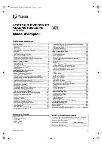 Funai DCVR-6500 H99A6FD(FR) 0418 Service Schematics by download #161622
