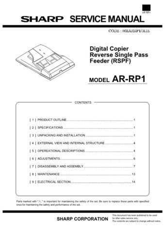 Sharp ARRP1 2 Service Manual by download #138858