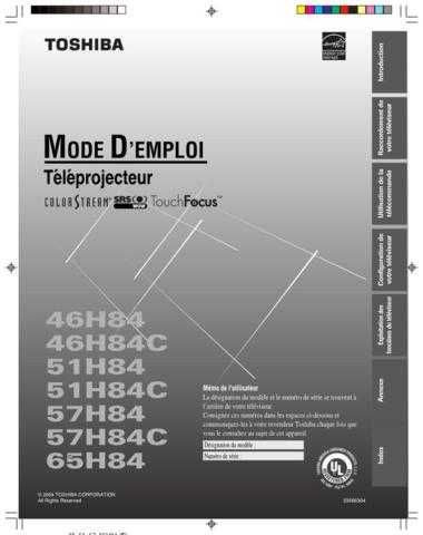 TOSHIBA 57H84 OM F OPERATING GUIDE by download #129401