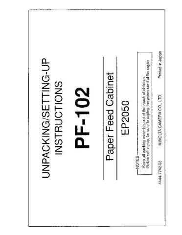 Minolta PF102 Service Schematics by download #137554