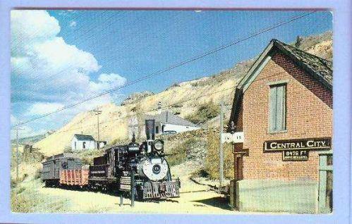 CO Central City Narrow Gauge Train View Small Brick Building w/Steam Locom~10