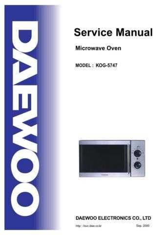 Daewoo KOG-5747 (E) Service Manual by download #155035