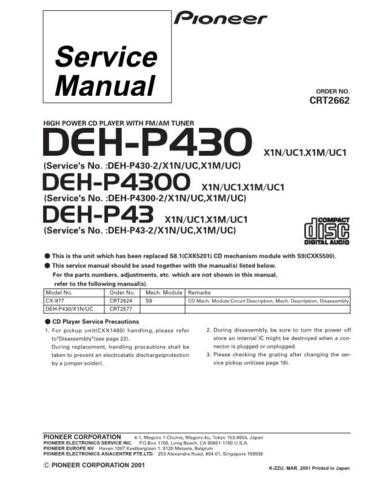 PIONEER C2662 Service Data by download #149038