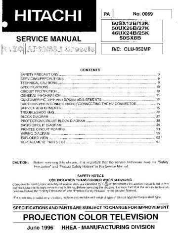 HITACHI 46UX25K USA Service Manual by download #163404