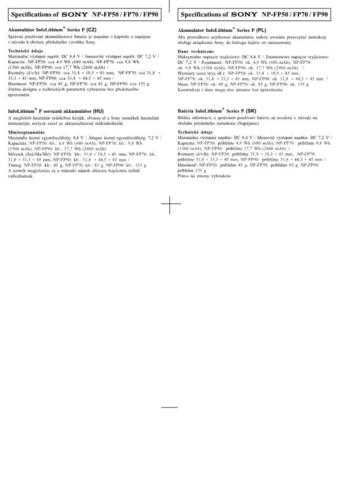 SONY NP-FP70 CZ-SCREEN OPERATING GUIDE by download #167147