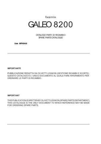 OLIVETTI galeo 8200 (687910X-00) Service Manual by download #138582