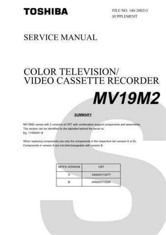 TOSHIBA MV19M2 SUMMARY Service Schematics by download #160258