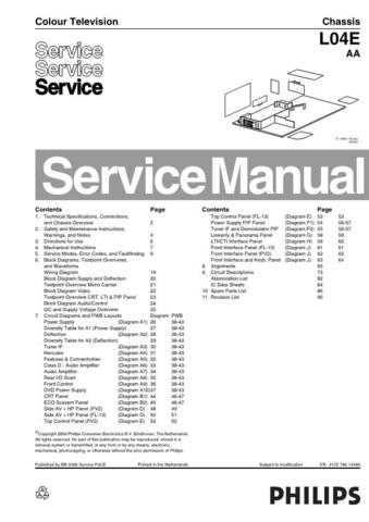 Philips 28PW6520-05 L04E-AA-EN Chassis Colour TV Service Manual Service Informat