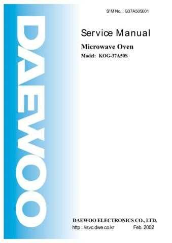 DAEWOO SM KOG-37A5 (E) Service Data by download #146866