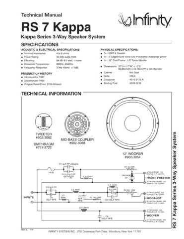 INFINITY RS 7 KAPPA TS Service Manual by download #151415