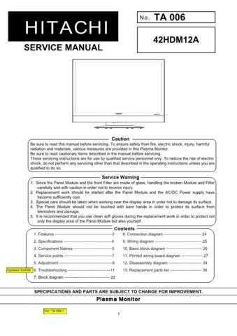HITACHI 42HDM12A USA Service Manual by download #163354