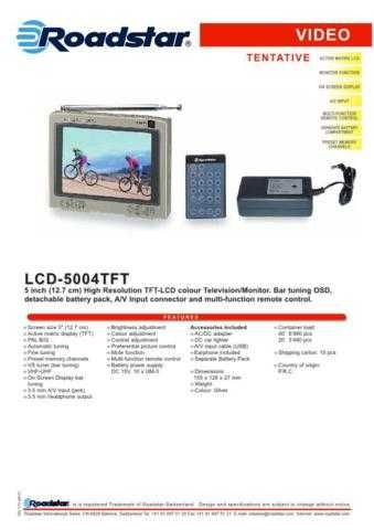 ROADSTAR LCD-5004TFT BATT by download #128288
