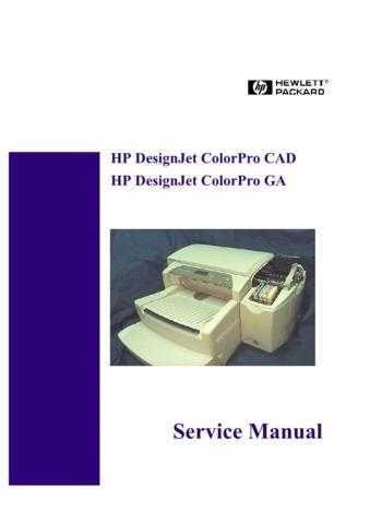 Hewlett Packard DesignJet 20ColorPro 20CAD 20and 20GA 20- 20 20 Service Manual b