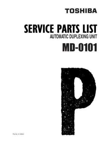 Toshiba MD0101 PARTS Service Manual by download #139319