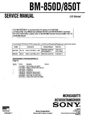 SONY BM-850D Service Manual by download #166328