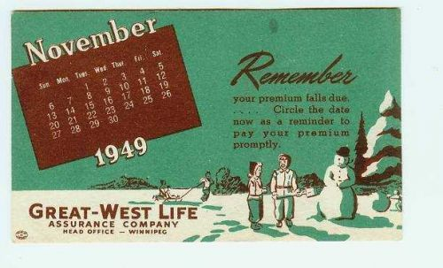 CAN Winnipeg Ink Blotter Advertising Great-West Life Assurance Company blo~22