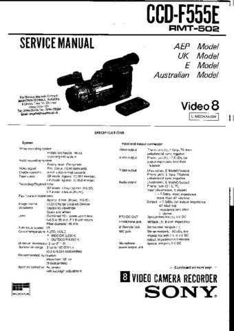 Sony CCDF555E a4019 Service Manual by download #154338