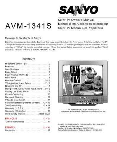 Sanyo AVM-1341S(OM) Manual by download #172671